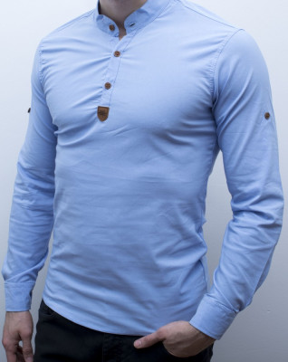 Camasa - camasa bleu - camasa slim fit - camasa elastica - cod 134 foto