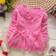 Bluza roz cu dantela fetite, 2-3 ani