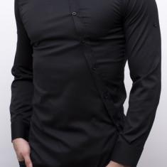 Camasa asimetrica neagra - camasa lunga - camasa slim fit - cod 27, L, M, S, XL, Maneca lunga, Alb, Grena, Negru