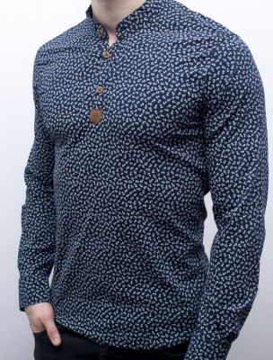 Camasa barbat - camasa bleumarin ancore camasa slim fit camasa elastica cod 139 foto