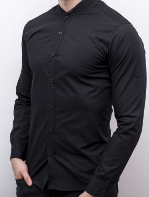 Camasa barbat - camasa tunica camasa slim fit camasa neagra camasa nunta cod 147 foto