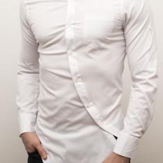 Camasa asimetrica lunga slim fit camasa alba camasa barbat cod 112