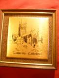 Tablou - Catedrala Worcester - Alama gravata si pictata cu email negru