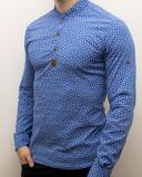 Camasa barbat - camasa albastra ancore camasa slim fit camasa elastica cod 138, L, M, S, XL, Maneca lunga, Din imagine