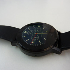 Smartwatch multifuncţional SMA-09 compatibil Android si iOs, Otel inoxidabil, 42mm, Negru, Android Wear, 4 GB