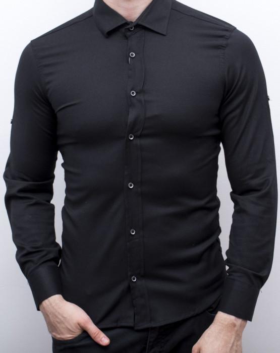 Camasa neagra barbat - camasa slim fit camasa barbat camasa eleganta cod 160