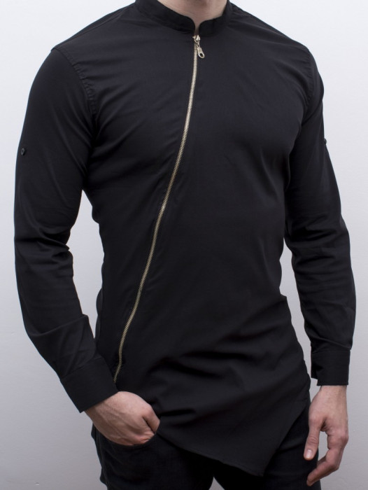 Camasa asimetrica  - camasa slim fit camasa cu fermoar LICHIDARE DE STOC cod 111