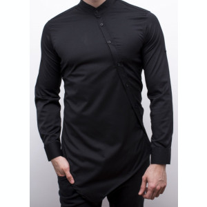 Camasa asimetrica neagra - camasa lunga - camasa slim fit - cod 27