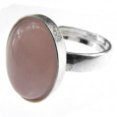 Inel argint reglabil cu cuart roz natural 14x10 MM