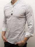 Camasa barbat - camasa alba ancore - camasa slim fit - camasa elastica cod 136, L, M, S, XL, Maneca lunga, Alb, Albastru, Bleu, Bleumarin