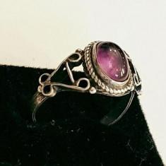 Inel din argint cu ametist, model vintage. Masura 7 - Inel argint