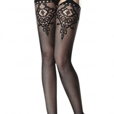 STK108-1 Ciorapi din plasa cu model si portjartier - Sosete dama, Marime: Marime universala