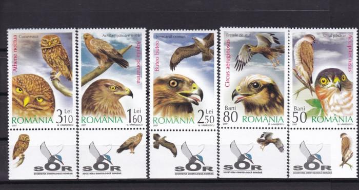 ROMANIA  2007  LP 1760 a  PASARI DE PRADA CU TABS SERIE MNH