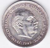 Spania 5 PESETAS 1949 (49) generalul Franco prima editie mai RARA