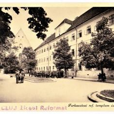 Cluj colegiul si biserica reformata, Kolozsvar Reformatus templom es kollegium - Carte Postala Transilvania dupa 1918, Necirculata, Fotografie, Cluj Napoca