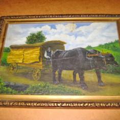 Elekes K. Taran cu car cu boi negrii-Pictor maghiar-ulei/panza. - Pictor strain, Scene gen, Realism