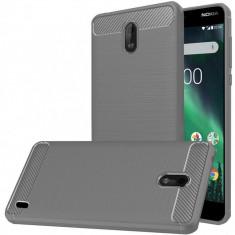 Husa Nokia 2 TPU Carbon Fibre Brushed - Husa Telefon, Gri, Silicon, Carcasa
