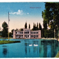 Cluj lacul cu lebede, chiosul, Kolozsvar Rakoczi kerti to ilustrata aprox 1917 - Carte Postala Transilvania 1904-1918, Cluj Napoca, Necirculata, Printata