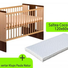 Patut Fara Sertar Klups Paula Natur Wenge Plus Saltea 8 Mykids Confort Ii - Patut lemn pentru bebelusi