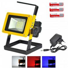 Proiector Portabil LED  Acumulatori 18650 lampa lucru reflector albastru rosu