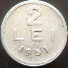 Moneda 2 Lei - ROMANIA, anul 1951 *cod 3417 --- ALLU surplus + exfoliere! - Moneda Romania, Aluminiu