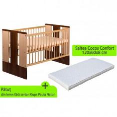 Patut Cu Sertar Klups Paula Natur Wenge Plus Saltea 8 Mykids Confort Ii - Patut lemn pentru bebelusi