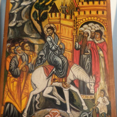 Icoana pe lemn Intrarea Domnului Iisus Hristos in Ierusalim