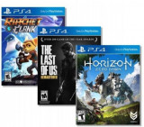 Horizon Zero Dawn + The Last Of Us Remastred + Ratchet And Clank Ps4, Sony