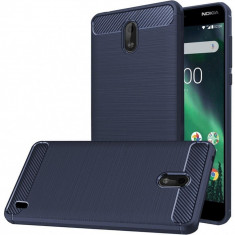 Husa Nokia 2 TPU Carbon Fibre Brushed - Husa Telefon, Albastru, Silicon, Carcasa
