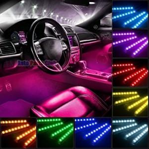 Kit Complet interior LED 4 x Benzi 12 SMD RGB cu telecomanda - 22cm AL-080817-21