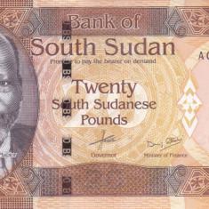 Bancnota Sudanul de Sud 20 Pounds 2015 - P13a UNC