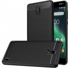 Husa Nokia 2 TPU Carbon Fibre Brushed - Husa Telefon, Negru, Silicon, Carcasa