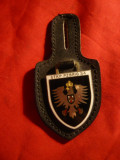 Insigna Militara Germana -Brigada 34 , h= 4 cm , metal si email pe suport piele