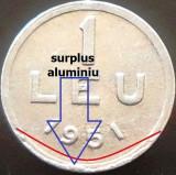 Moneda 1 Leu - ROMANIA, anul 1951 *cod 3505 --- ALLU = eroare batere surplus!