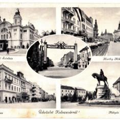 Cluj Kolozsvar ilustrata multipla, colaj, circulata in 1940 - Carte Postala Transilvania dupa 1918, Printata, Cluj Napoca