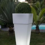 Lobby - Vaza luminoasa alba patrata 105 cm