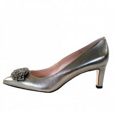 Pantofi dama, din piele naturala, marca Gino Rossi, culoare argintiu, marimea 36 - Pantof dama Gino Rossi, Cu toc