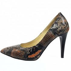 Pantofi dama, din piele naturala, marca Savana, culoare bej, marimea 36 - Pantof dama Savana, Cu toc