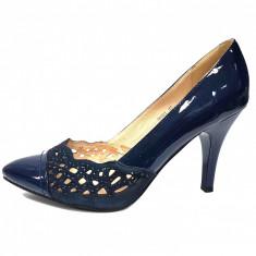 Pantofi dama, din piele naturala, marca Deska, culoare bleumarin, marimea 37, Cu toc