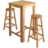 Set de masă și scaune de bar din lemn masiv de acacia, 3 piese