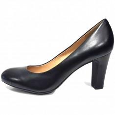 Pantofi dama, din piele naturala, marca Geox, culoare negru, marimea 39 - Pantof dama Geox, Cu toc
