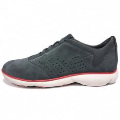 Pantofi sport barbati, din piele naturala, marca Geox, culoare gri, marimea 43 - Pantofi barbat