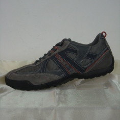 Pantofi sport barbati, din piele naturala, marca Geox, culoare gri, marimea 40 - Pantofi barbat