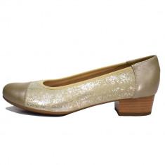 Pantofi dama, din piele naturala, marca Alpina, culoare bej, marimea 36 - Pantof dama Alpina, Cu talpa joasa