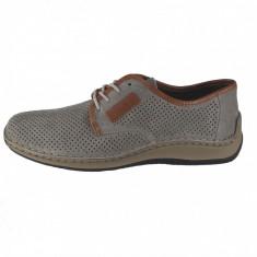 Pantofi barbati, din piele naturala, marca Rieker, culoare gri, marimea 41, Casual