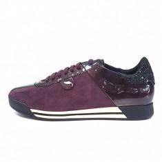 Pantofi sport dama, din piele naturala, marca Geox, culoare bordo, marimea 39 - Adidasi dama Geox, Bordeaux
