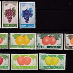 Liban 1955 fructe MI 559-568 MH w49 - Timbre straine, Nestampilat