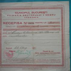 HOPCT DOCUMENT VECHI 264 RECEPISA/RECIPISA PRIMARIA SETORULUI II BUCURESTI 1935