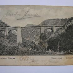 Carte postala circulata viaduct Oravita - Anina anii 1900 - Carte Postala Banat pana la 1904, Printata