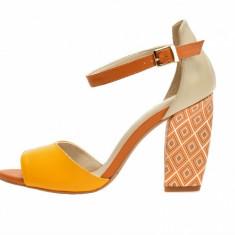 Sandale dama, din piele naturala, marca Epica, culoare galben, marimea 35